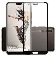 4D Premium 0,3 mm H9 Hart Glas Schwarz Folie für Huawei P20 Lite Schutz Hülle