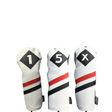 Majek Retro Golf 1 5 X Driver & Woods Headcover White Red Black Leather Style
