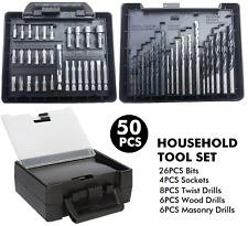50PCS Tool Kit Case Twist Masonry Wood Drill Screw Driver Bits Sockets Set Metal