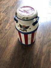 Vintage steel 10 gal. Swift Dairy milk can. Painted.