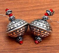 Indian Earrings Ethnic Tribal Carved Hippie Jewelry Dome Drop Gypsy Boho Banjara