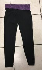 VICTORIAS SECRET BLACK  with Purple FOLD OVER TOP CROP YOGA PANTS S with bling