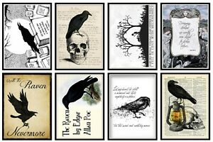 EDGAR ALLAN POE - RAVEN - 2 x A4 SHEETS OF CARD TOPPERS -  SCRAPBOOKING - 250GSM