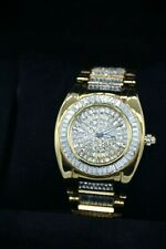 Men's Ice Out Yellow Gold Plate Bling Master Robusto Simulated Diamonds Watch