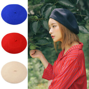 Women Winter Beanie Beret Casual Warmer French Artist Hats Ski Caps Solid Color