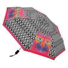 LAUREL BURCH Compact Umbrella WHISKERED CATS ~ Auto Open & Close ~ New