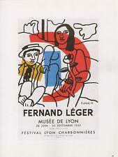 """1989 VINTAGE """"FERNAND LEGER"""" MUSEE LYON MOURLOT MINI POSTER COLOR Art Lithograph"""