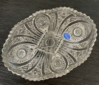 Imperial 24% Lead Crystal Divided Oval Scallop Bowl  Made in USA Handcrafted