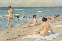 Summertime Beach Party With Bathing Women Ocean Art Real Canvas Print
