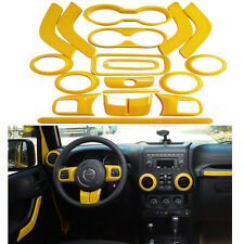 18x Yellow Interior Decoration Frame Trim Accessories For Jeep Wrangler JK 11-17