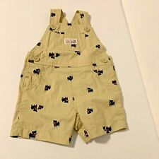 Just For You Infant Boys Sz 3 Months Blue Dogs Shortalls Short Overalls Tan