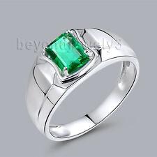 Solid 18K White Gold Engagement  Wedding Emerald Gemstone Mens Ring