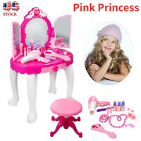 Pink Princess Vanity Makeup Mirror Dressing Table Toys Music Gift for Girls Kids