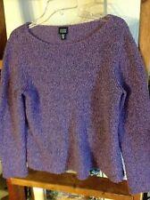 eileen fisher sz medium m purple wool cashmere sweater fuzzy