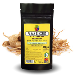 Panax Ginseng Capsules Korean Supplement - Extract = 12500mg - 80% Ginsenosides