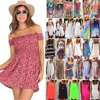 Summer Women Mini Dress Beach Bikini Cover Up Loose Kaftan Sundress Swimwear