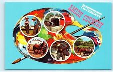 *Picturesque Amish Country Multi-View Artist Paint Pallet Vintage Postcard B58