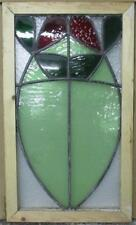 """MID SIZED OLD ENGLISH LEADED STAINED GLASS WINDOW Abstract Floral 14.5"""" x 24.75"""""""