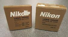 2 New Nikon Lens Hood HN-1 & HN-12 Screw-in-type 24mm/f2.8 28mm/f2 35mm/f2.8 NOS