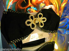 Fabric Bow Free Ship Rb1/B usa made Kirks Folly Barrette Large Gold & Black