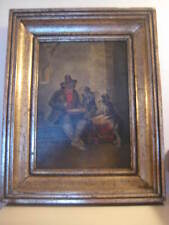 old oil painting on wood panel remi troubadour vlaams flemisch