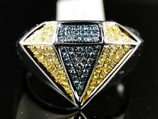 MENS WHITE GOLD FINISH DIAMOND SHAPE FASHION DESIGNER PINKY RING 0.40 CT