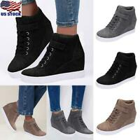 Womens Hidden Wedge Lace Up Boots Shoes Ladies Casual High Top Trainers Sneakers