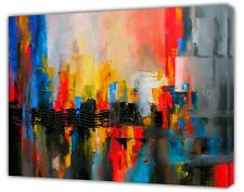 Red/Yellow Abstract Reflection Oil paint Reprint On Framed Canvas Wall art