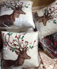"Pottery Barn Winter Berry Pillow 20"" Indoor Outdoor Deer Stag Christmas New"