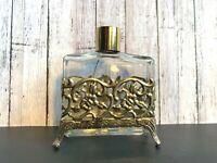 Vtg Vanity Gold Tone FILIGREE Square Glass Perfume BOTTLE with Holder Regency