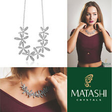 "Rhodium Plated Necklace w/ Flowers & 12"" Extendable Chain w/ Crystals by Matashi"