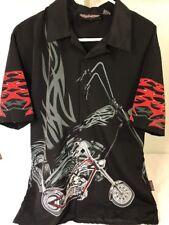 Sapphire Lounge Men Size M Black Shirt Tribal Rockabilly Short Sleeve Motorcycle