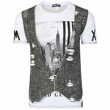 Mens Italian DG Designer Black NY T Shirt Waist coat Slim Fit Crew Neck With Zip