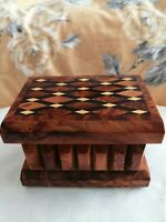 Handcrafted small Wooden inlay puzzle box comes with instructions and a video.