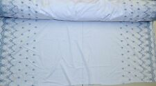 "White w/Blue Embroiderey Scalloped Double Border 54"" Wide Fabric by the Yard"