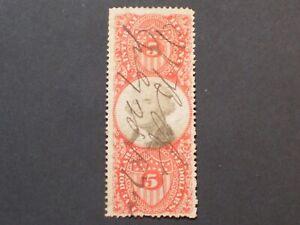 US Revenue Stamp Cat# R148   $5 Vermillion & Black
