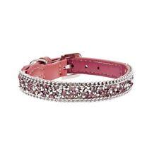Collar perro cuero rosa piel 1,5 x 37 cm brilli brilli brillo brillantes