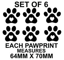 Loveheart Paw Print x 6 Car Stickers Funny Novelty Window Vinyl Decals Dog Cat