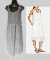 KAREN MILLEN UK 12 White Aztec Embroidered Soft Voile Drawstring Dress EU40 £199