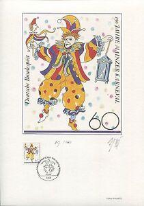 PHILARTES EDITION 1988 BRD 1349 MAINZER KARNEVAL NUR 1000 STÜCK! RAR!! z1097