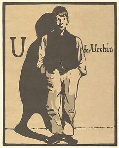 William Nicholson Woodcut Print 1898 U for Urchin Alphabet Lithograph 1975