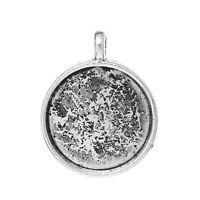 6 pc Charm Pendant Round Antique Silver Cabochon Setting 29mmx23mm LC3958