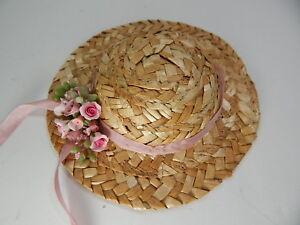 "Miniature Straw Hats 5"" Mini Wicker Straw Hats Hand Made #Z152 Pink"