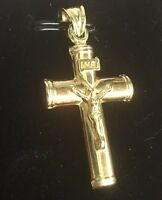 Jesus Christ Crucifix Cross 14k gold layer on 925 SS Flat Round Pendant Charm