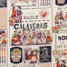 1m baile de calaveras thé aubergine tissu par mètre-alexander henry crâne danc