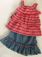 Hanna Andersson Girls 2 Piece Outfit 120 EUC Skirt Tank Summer Fall Pink Red Blu