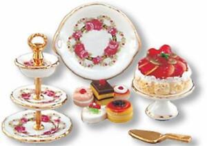 Dollhouse 3-tier Dessert Plate Serving Set 1.695/8 Reutter Roseband Miniature