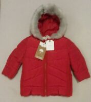 BNWTS NEXT Baby Girls Red Padded Winter Coat Grey Faux Fur Trim Hood 3-6 months