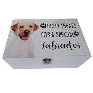 Golden Labrador Dog Treats Food Storage Container Holder Biscuits Barrel Wood