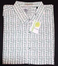Nicoby Modal Sage Printed Grapefruit Men's XL Button-Up Short Sleeve Shirt-$110